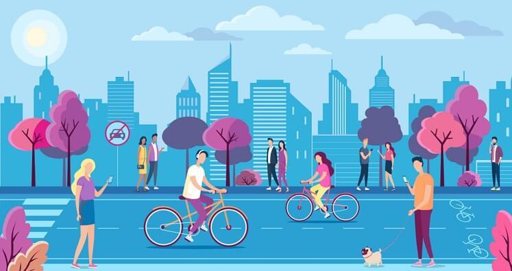Elementos que compõem iniciativas de mobilidade urbana sustentável, como a bicicleta e a caminhada