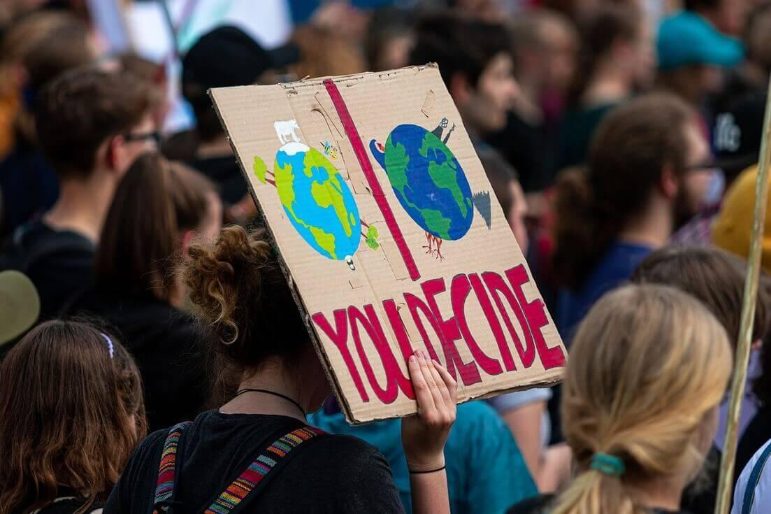 Cartaz You Decide manifestação em Dia Nacional das Mudanças climáticas